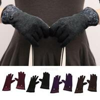 Fashion One Pair Women Touch Screen Lace Cotton Winter Warm Gloves Mittens New