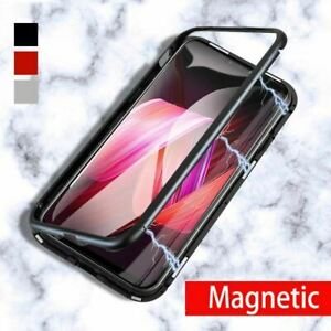 Magnetic Metal 360 Bumper Case Clear Cover +Tempered Glass For Huawei P20 Pro