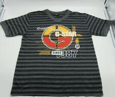 G-Star Raw Denim Men's Size M Grey/BK  Graphic T-Shirt Tee Cotton Short Sleeve