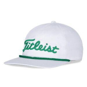 New 2021 Titleist Retro Rope Adjustable Hat White/Green