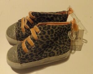 9-12 Month Baby Crib Shoes Girl Carters NWT Gray Pink Leopard Print Silver Toes