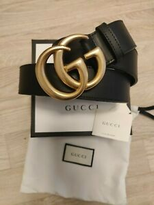 Authentic  Gucci Interlocking GG logo black Leather belt