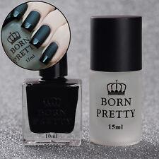 2pcs/set BORN PRETTY 10ml Gloss Black Nail Polish 15ml Matte Surface Top Coat