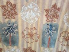 Large Hawaiian Shirt Tan White Grey Flowers Palms Reyn Spooner  Coco Buttons