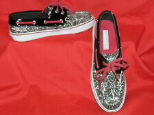 SPERRY BAHAMA WOMENS BOAT SHOES RED WHITE BLACK SEQUINS PATENT LEATHER 8.5 $95