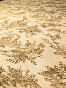 Williams Sonoma NWOT Tablecloth 68x70 Italy Toile French Country Bronze on Ecru