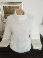 Ladies White Pure Mochair Hand Made Jumper Size 8/12