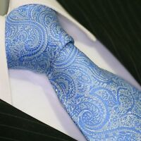 Krawatte Krawatten Schlips Binder de Luxe Tie cravate 440 blau paisley