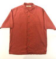 Tommy Bahama Mens Silk Hawaiian Camp Shirt Large Short Sleeve Red