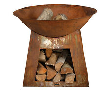 outdoor fire  bowl with wood storage brazier rust New . VERY GOOD PRICE