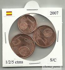 // 1 + 2 + 5 centimos euro España 2007 SC . euro cents spain \