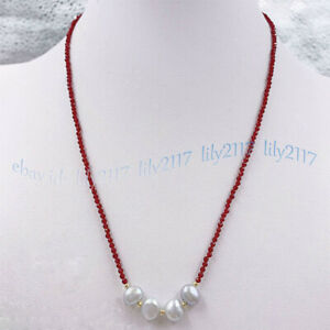 Faceted 3mm Red Ruby Round Gems Beads &8-9mm Gray Baroque Pearl Necklace 16-28''