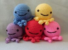"Amigurumi Hand Crocheted Octopus Doll Made to order Many colors 4"" Doll Red Pink"