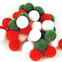 POM POMS Christmas Mix, Red white green  Fluffy CRAFTS CARDMAKING Best Quality