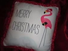 "RED and WHITE TROPICAL PINK FLAMINGO SANTA HAT PILLOW 18"" X 18"" CHRISTMAS GIFT"