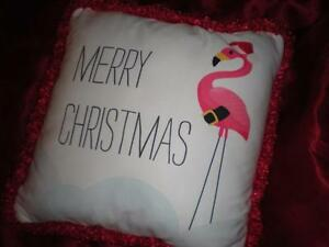 """RED and WHITE TROPICAL PINK FLAMINGO SANTA HAT PILLOW 18"""" X 18"""" CHRISTMAS GIFT"""