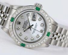 Rolex Watch Steel Lady Datejust White MOP Diamond Dial & Bezel w Emeralds