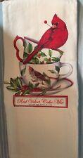 White Christmas  Cardinals Flour Sack Dish Tea Towel - Mary Lake Thompson