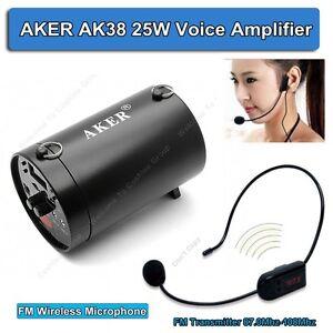 AKER AK38 25W Waistband Voice Amplifier Booster Loundspecke With FM Wireless R2