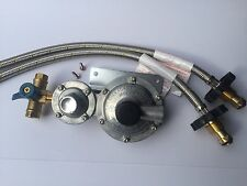 LPG REGULATOR KIT TWIN STAGE 250MJ SUIT CARAVAN AND HOME USE (W/FLEX HANDWHEEL)