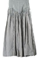 Norman Kamali Womens Size 6 White Skirt Gingham Check High Waist Maxi Nylon