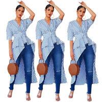 Women Fashion Short Sleeve Lady V Neck Irregular Long Tail Stripe Tops Blouses