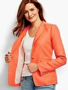 NWOT TALBOTS Orange Herringbone SOLID LINEN BLAZER Gold Logo Button Jacket 6
