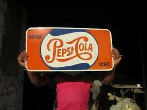 "Porcelain Pepsi Cola Enamel Sign Size 24"" x 12"" Inches"