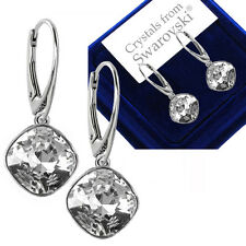 925 Sterling Silver Leverback Earrings Clear Square Crystals from Swarovski®
