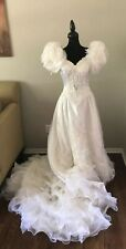 Vintage Lace Bridal Wedding Dress White Beads Pearl Satin Gown Ruffle Sleeves