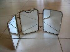Ancien miroir triptyque de barbier coiffeur 44 cm déco rétro salle de bain