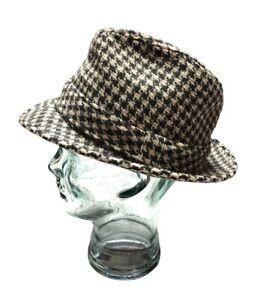 Vintage Dobbs Fifth Avenue Houndstooth Fedora Wool Hat 7 1/4 Black & White