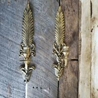 Vtg Brass Candle Sconce Set Floral Feather Candlestick Holders Home Decor India