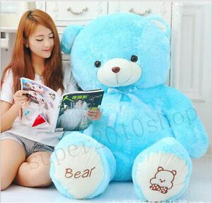 """Stuffed Teddy Bear 39""""""""Blue""""Giant Huge Big Plush Soft Bear Toy Doll 100cm Gift A"""