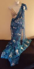 Silver Crystal Choli Bralette & Blue Lace Sequin Lehenga Sari Saree Bridal Gown