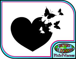 Butterfly Heart J Vinyl Sticker Vehicle Car Van Poster Wall Art Window Decal