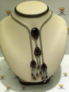 Platinum Sterling Silver Topaz & White Sapphire Large Halo Drop Tennis Necklace