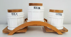CANISTER SET TEA COFFEE SUGAR WHITE & WOODEN SEMI CIRCLE STAND BASE BARREL WH03A