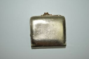 Kate Spade Gold Pink Leather Small Kisslock Wallet Coin Purse