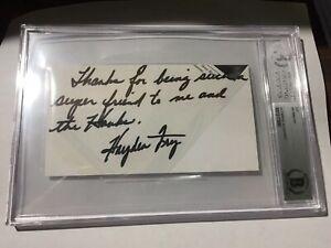 Hayden Fry Signed Cut Beckett Iowa Hawkeyes Rare 1/1
