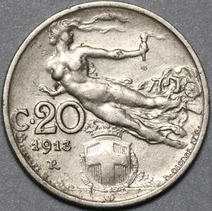 1913 Italy 20 Centesimi VF+ Flying Woman Coin (21022502R)