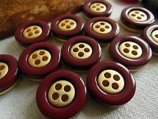lot 12  boutons rouge doré  4 trous couture mercerie diamètre: 1,7 cm Ref 651
