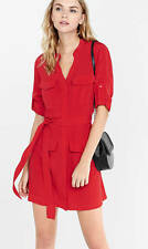 NEW EXPRESS RED MILITARY SHIRT DRESS SZ S SMALL