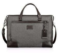 $1140 Tumi Mens GRAY Astor Regis Slim Brief CANVAS BRIEFCASE WORK TRAVEL BAG