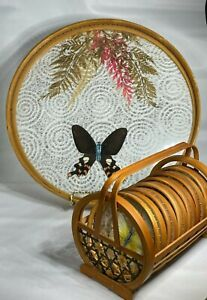 Vintage 70s Pressed Butterfly Bamboo Frame Coasters Set With Caddy and Tray