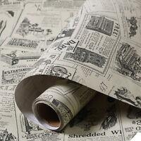 Retro Newspaper Style Wallpaper Vinyl Self-adhesive Wall Sticker Decor 60x300CM