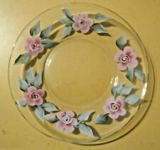"""Beautiful Pink Floral Decorated Hand-Painted Petit-Four Cookie Serving Plate 8"""""""