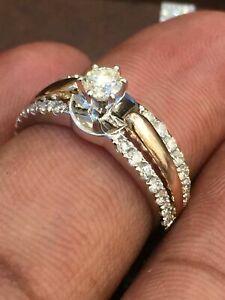 Pave 0,74 Cts Runde Brilliant Cut Natürlich Diamanten Verlobung Ring In 14K Gold