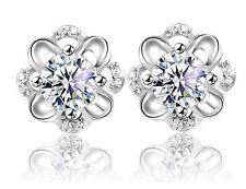 8mm Sterling silver cubic zirconia Flower Clove Stud Ear Earrings Gift Box AJ