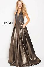 Jovani Gold Silver Halter A Line Gown 57237